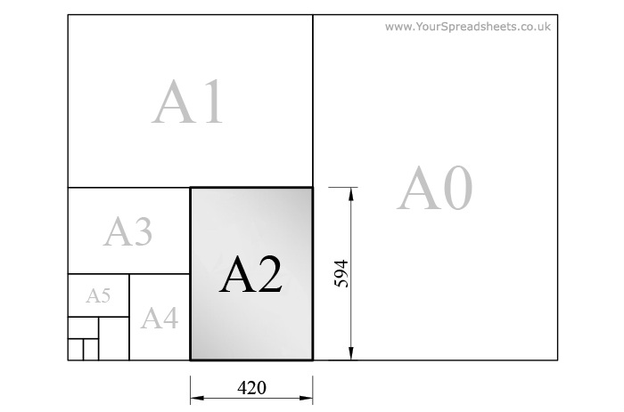 A2 paper size as per ISO 216