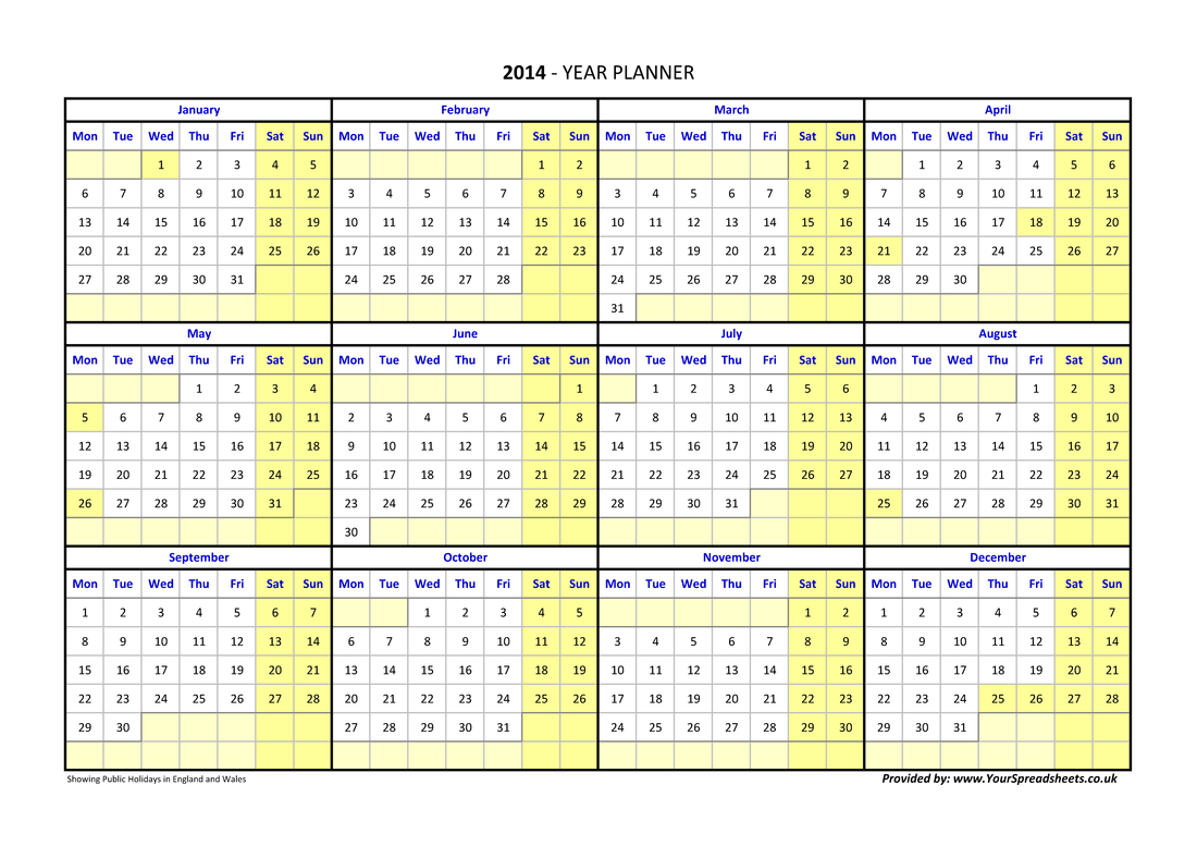 annual calendar showing week numbers - Calendar