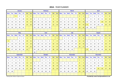 2015 Year Planner - YourSpreadsheets