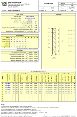 Steel Bracing Design Spreadsheet to Eurocode 3 (EN 1993-1-1)