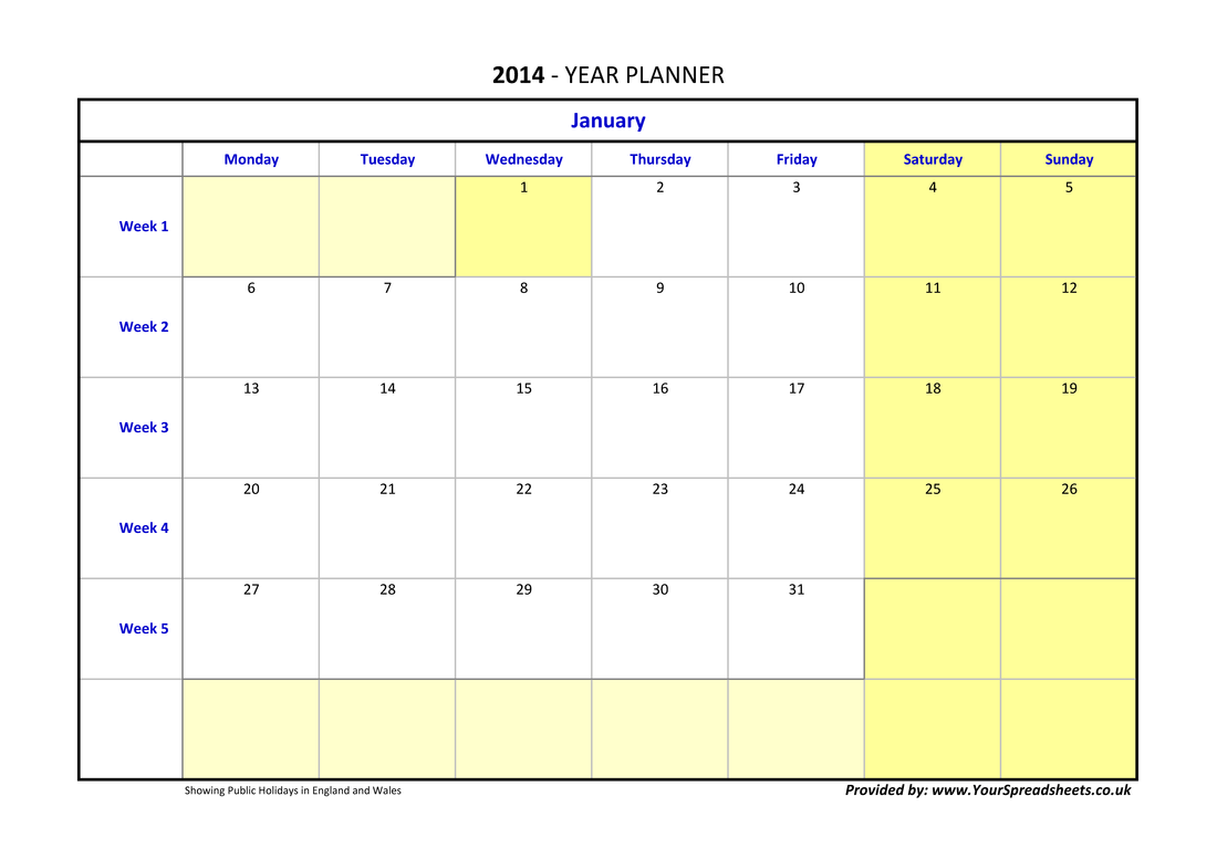 image regarding Yearly Planner Template known as Calendar year Planner